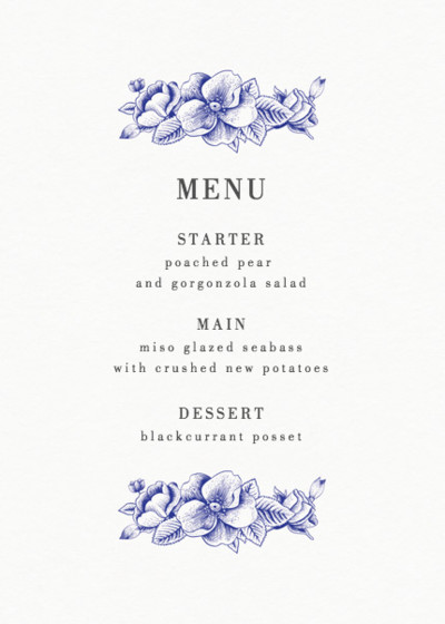 Blue Hydrangea | Personalised Menu