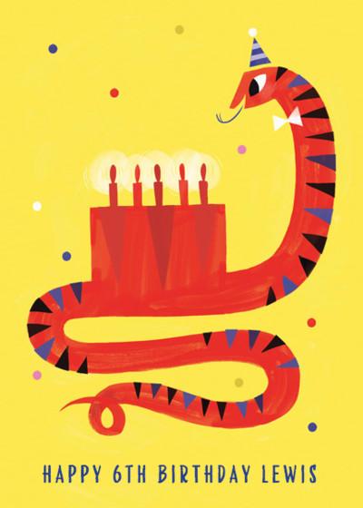 Snake Eats Birthday Cake   Personalised Birthday Card