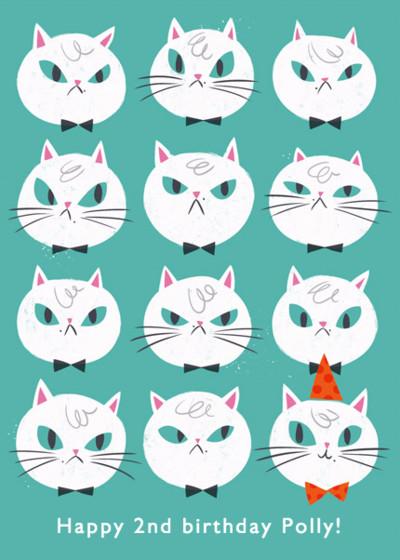 Birthday Cats   Personalised Birthday Card