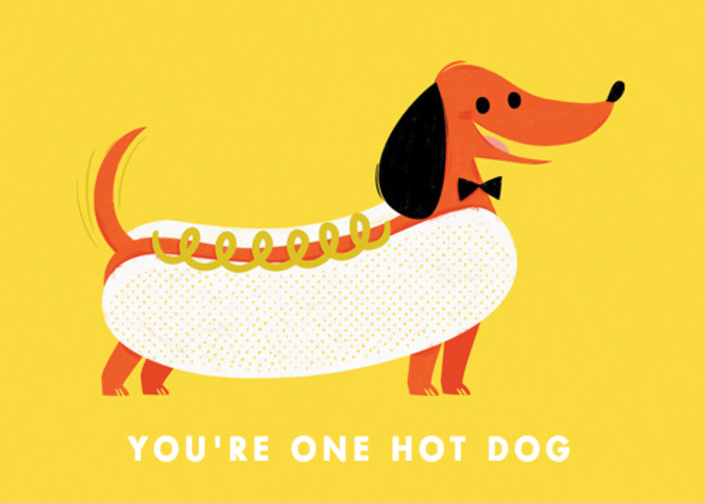 Happy Hot Dog | Personalised Birthday Card