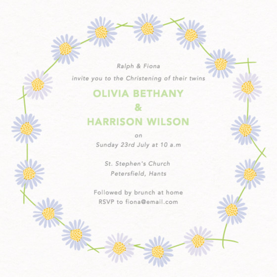 Daisy Chain | Personalised Christening Invitation
