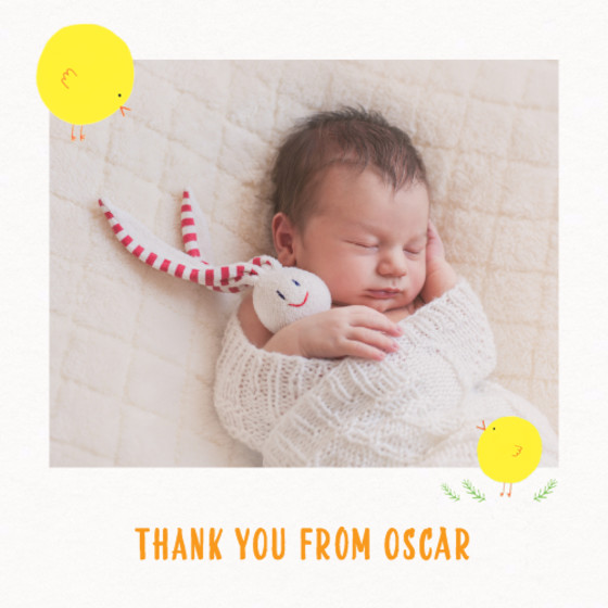 Spring Chick Photo | Personalised Thank You Card