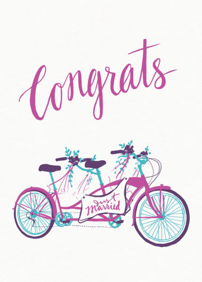 Just Married Tandem | Personalised Congratulations Card