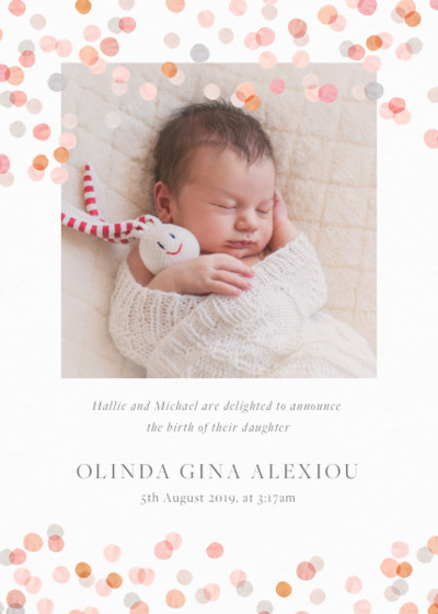 Blush Confetti | Personalised Birth Announcement