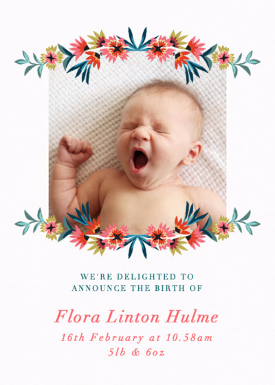 Star Flower Garland | Personalised Birth Announcement
