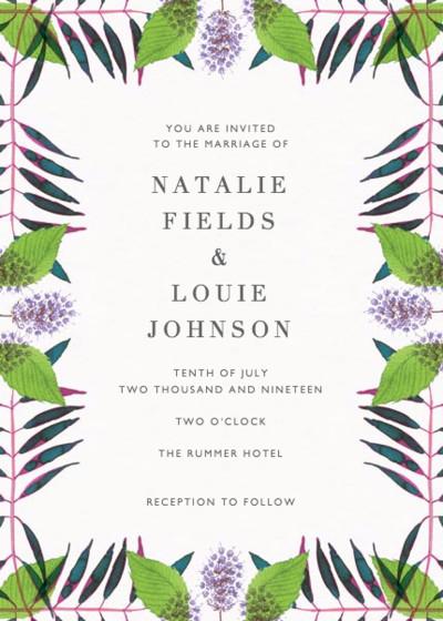 Peppermint Flowers | Personalised Wedding Invitation