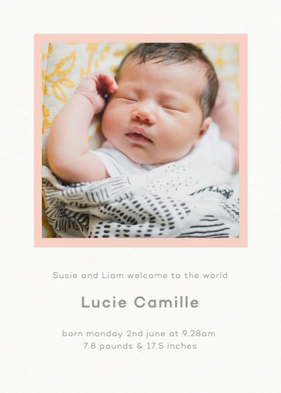 Frame Blush | Personalised Birth Announcement