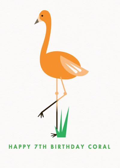 Orange Flamingo | Personalised Birthday Card