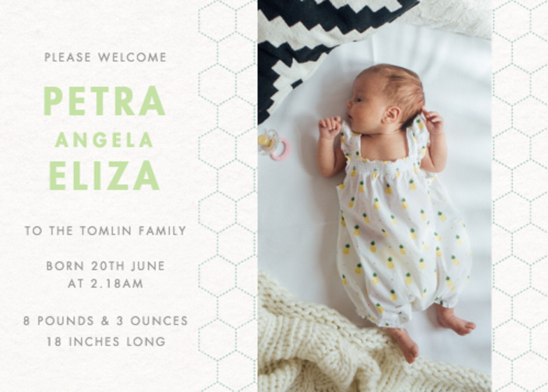 Honeycomb | Personalised Birth Announcement