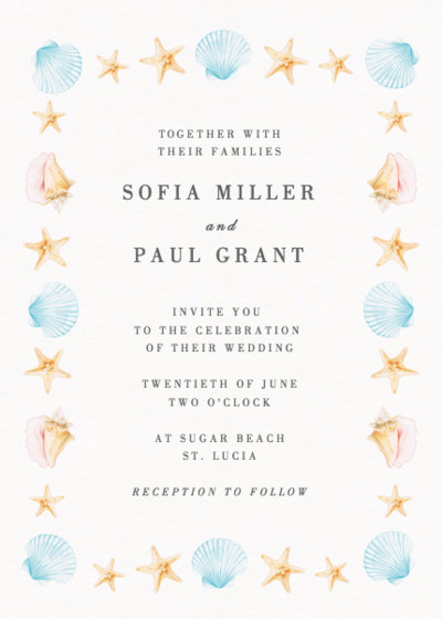 Saint Lucia   Personalised Wedding Invitation