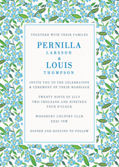 Forget-Me-Not | Personalised Wedding Invitation