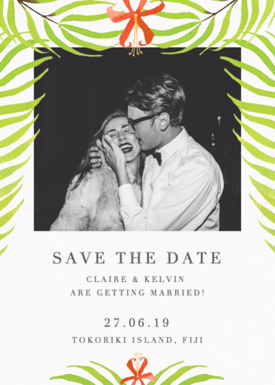 Palm Flower | Personalised Save The Date