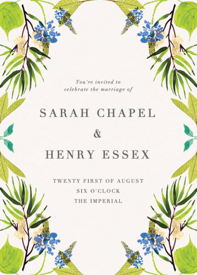 Blue Spring   Personalised Wedding Invitation
