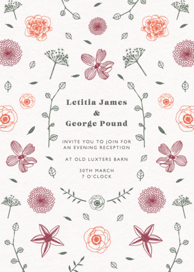 Floral Scatter   Personalised Wedding Invitation