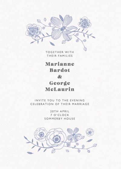 Blue Flora   Personalised Wedding Invitation