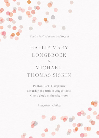 Blush Confetti | Personalised Wedding Invitation
