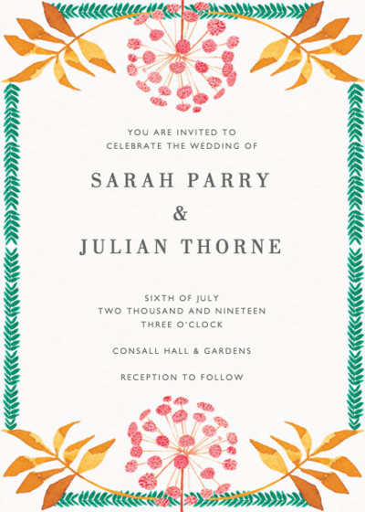 Pink Allium | Personalised Wedding Invitation