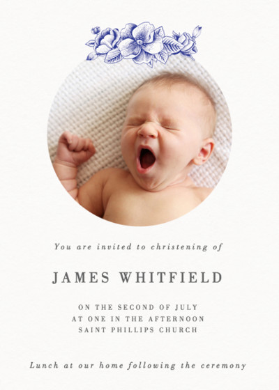 Blue Hydrangea | Personalised Christening Invitation