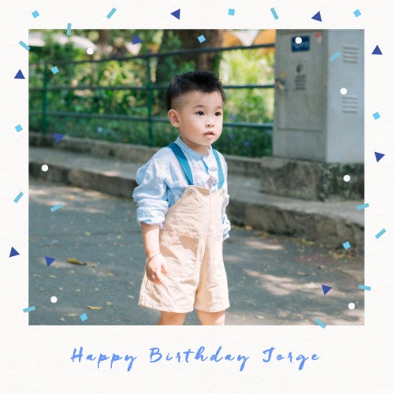 Falling Blue Confetti | Personalised Birthday Card