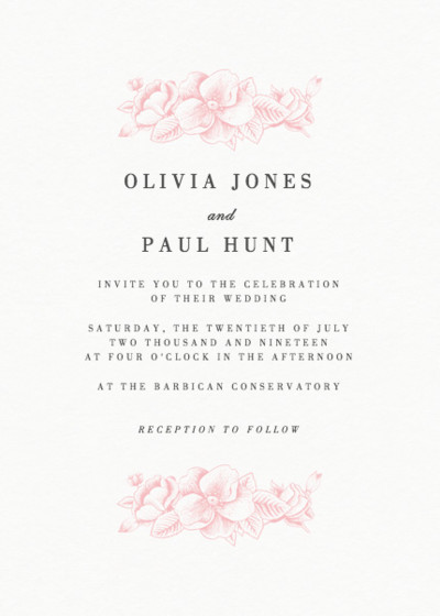 Pink Hydrangea | Personalised Wedding Invitation