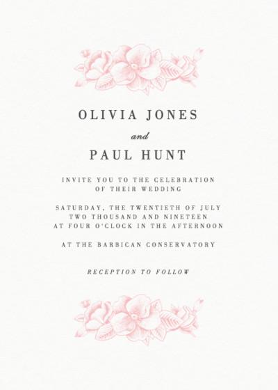 Pink Hydrangea | Personalised Wedding Invitation