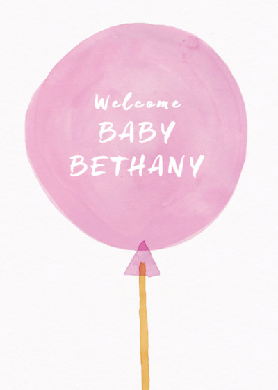 It's A Girl Balloon | Personalised Congratulations Card