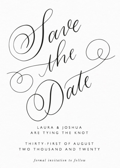 Classic Calligraphy   Personalised Save The Date