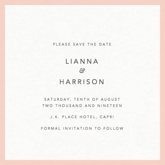 Blush Border | Personalised Save The Date