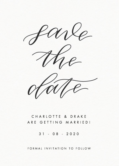 Save The Date Calligraphie | Personalised Save The Date