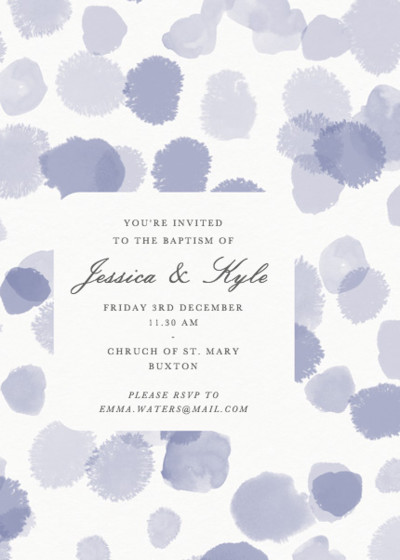 Lilac Spots | Personalised Christening Invitation