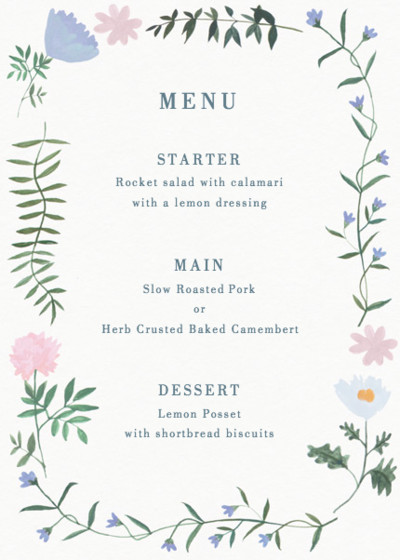 Helena | Personalised Menu