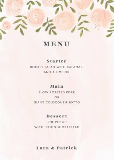 Blush Florals | Personalised Menu