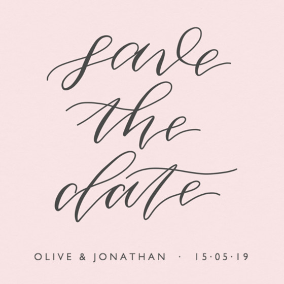 Save The Date Pink Calligraphy | Personalised Save The Date