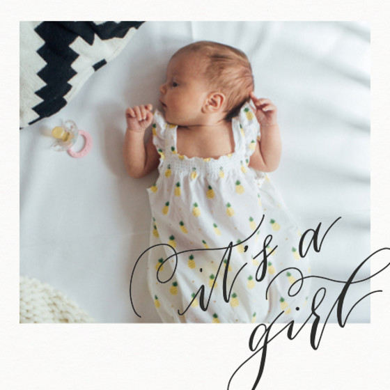 It's A Girl | Personalised Birth Announcement