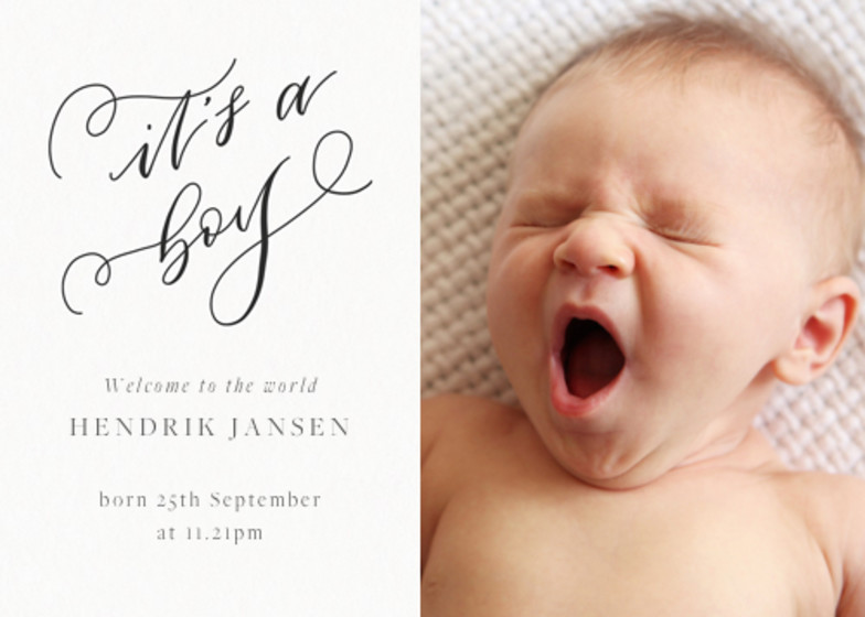 It's A Boy | Personalised Birth Announcement