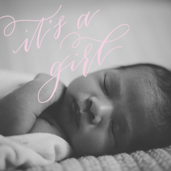 It's A Girl Pink | Personalised Birth Announcement