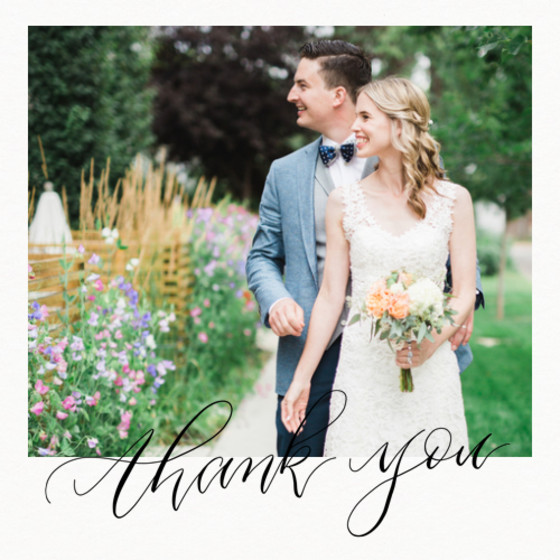 Thank You Calligraphy Photo | Personalised Photo Card Set