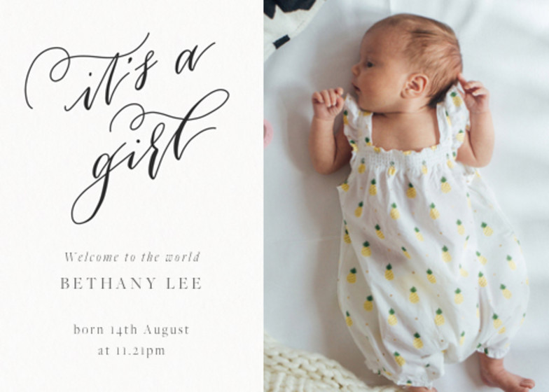 It's A Girl Calligraphy | Personalised Birth Announcement