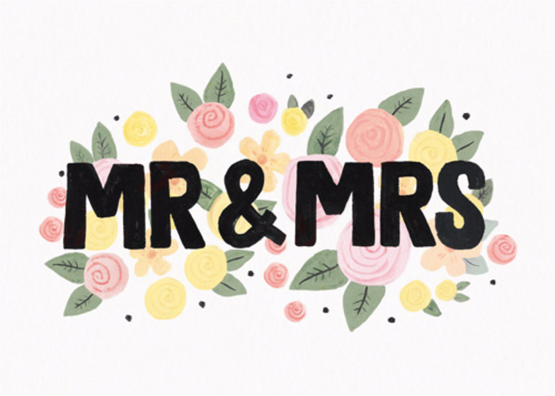 Mr & Mrs Floral | Personalised Congratulations Card