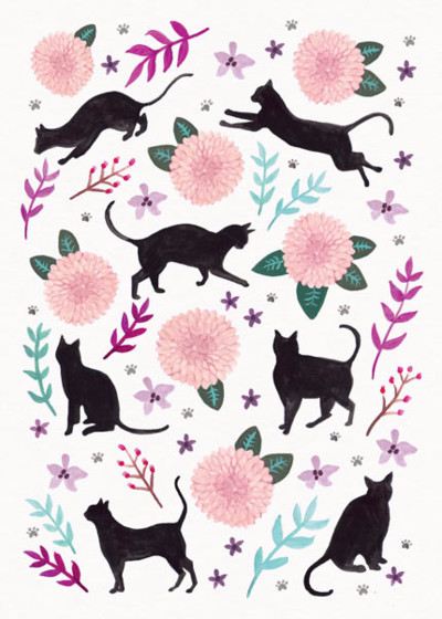 Cats & Dahlias | Personalised Greeting Card