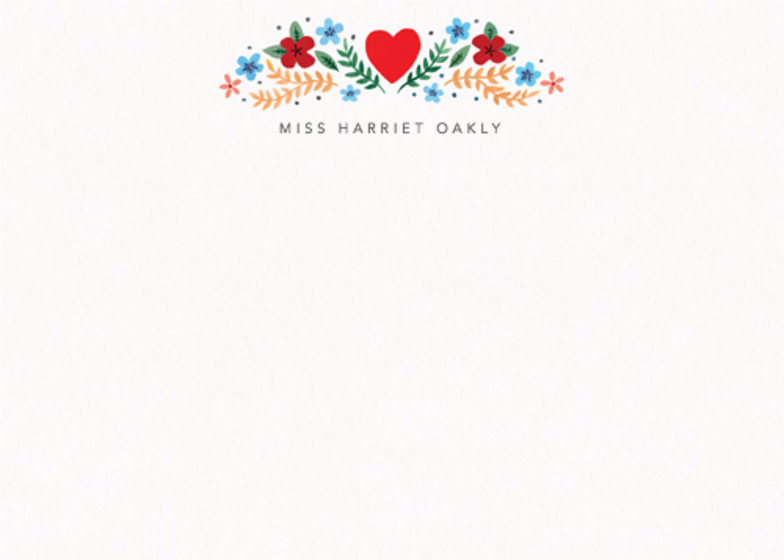 Folk Heart Floral | Personalised Stationery Set