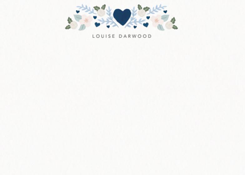 Folk Heart Blue | Personalised Stationery Set