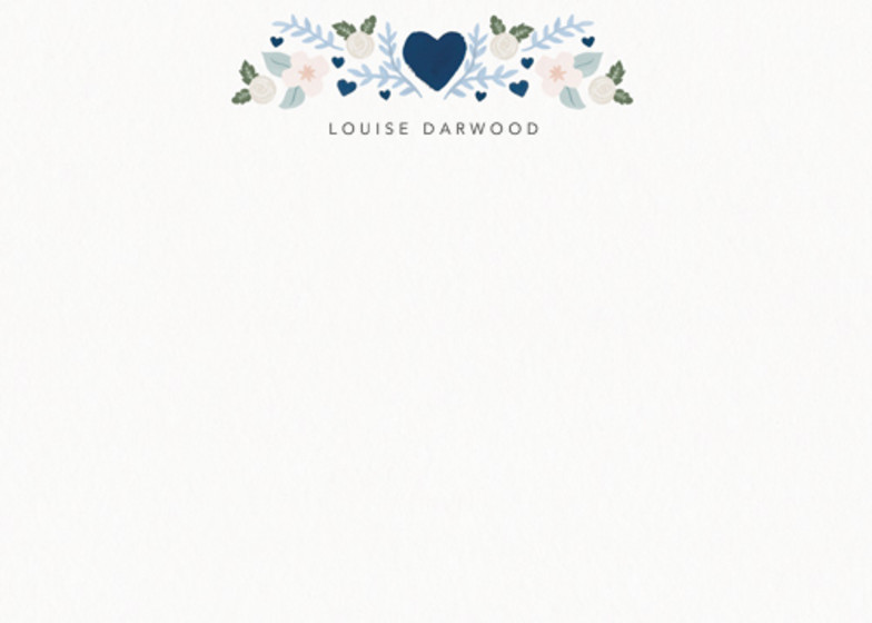 Folk Heart Blue | Personalised Stationery Set