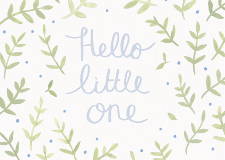 Hello Little One Blue | Personalised Congratulations Card