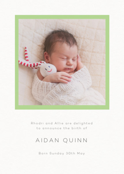Frame Apple Green | Personalised Birth Announcement