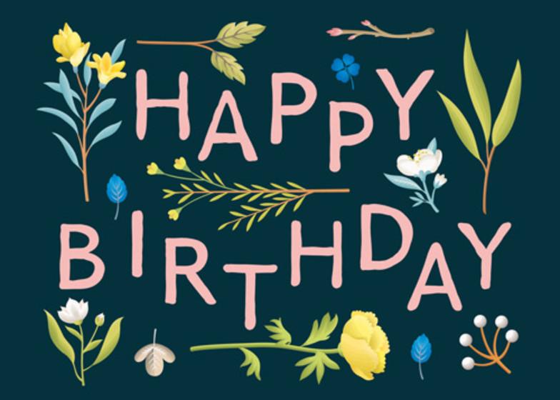 Birthday Plant Variety Navy | Personalised Birthday Card