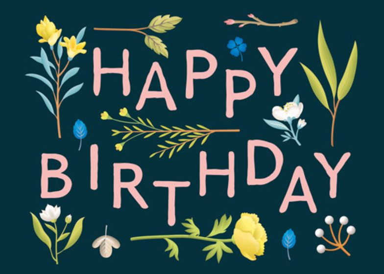 Birthday Plant Variety Navy | Personalised Birthday Card