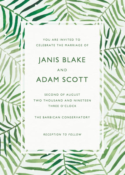 Palms | Personalised Wedding Invitation