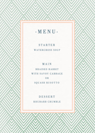 Green Diamonds | Personalised Menu