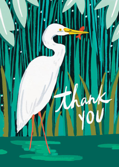 Heron With Fish | Personalised Greeting Card